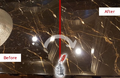 Before and After Picture of a Avenel Marble Countertop Cleaned to Remove Water Spots