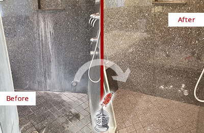 Before and After Picture of a Palisades Granite Shower Stone Sealed to Avoid Mineral Deposits