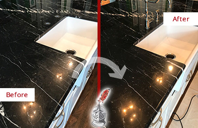 Before and After Picture of a Palisades Marble Kitchen Countertop Stone Sealed to Avoid Water Damage