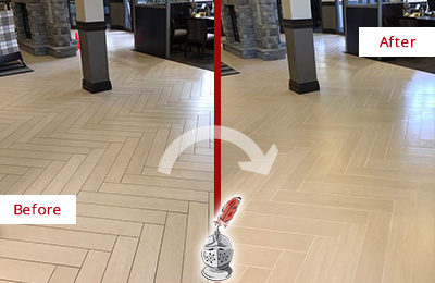 Before and After Picture of a Mountain Lakes Hard Surface Restoration Service on an Office Lobby Tile Floor to Remove Embedded Dirt
