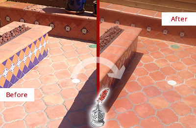 Before and After Picture of a Caldwell Hard Surface Restoration Service on a Dull Terracotta Patio Floor to Recover Its Color