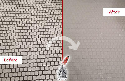 Before and After Picture of a Millburn Hard Surface Restoration Service on a Bathroom Tile Floor Recolored to Fix Grout Color
