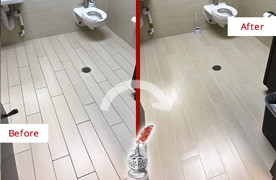 Before and After Picture of a Newark Office Restroom's Grout Cleaned to Remove Dirt