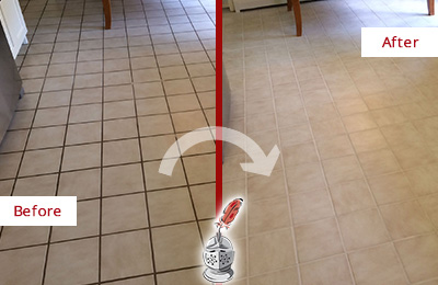 Before and After Picture of a Cedar Grove Kitchen Tile Floor with Recolored Grout