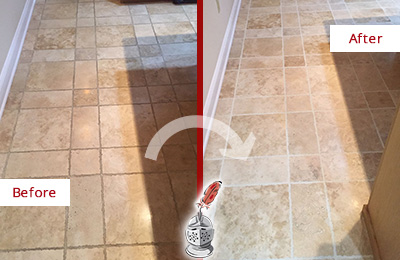 Before and After Picture of a Cedar Grove Travertine Kitchen Floor Recolored Grout