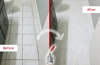 Before and After Picture of a Cedar Grove White Ceramic Tile with Recolored Grout