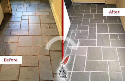 Before and After Picture of Damaged Bogota Slate Floor with Sealed Grout
