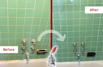 Before and After Picture of a Bayonne Bath Tub Grout Sealed to Avoid Water Damage