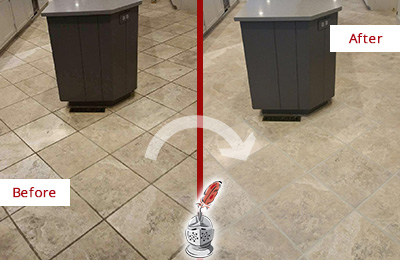 Before and After Picture of a Bayonne Kitchen Floor Grout Sealed to Remove Stains