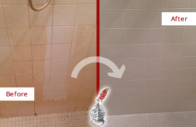 Before and After Picture of a Athenia Porcelaine Shower Cleaned to Remove Soap Scum