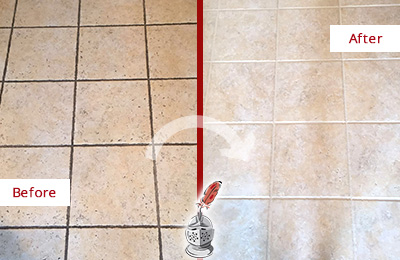 Before and After Picture of a Athenia Ceramic Floor Cleaned to Remove Soil